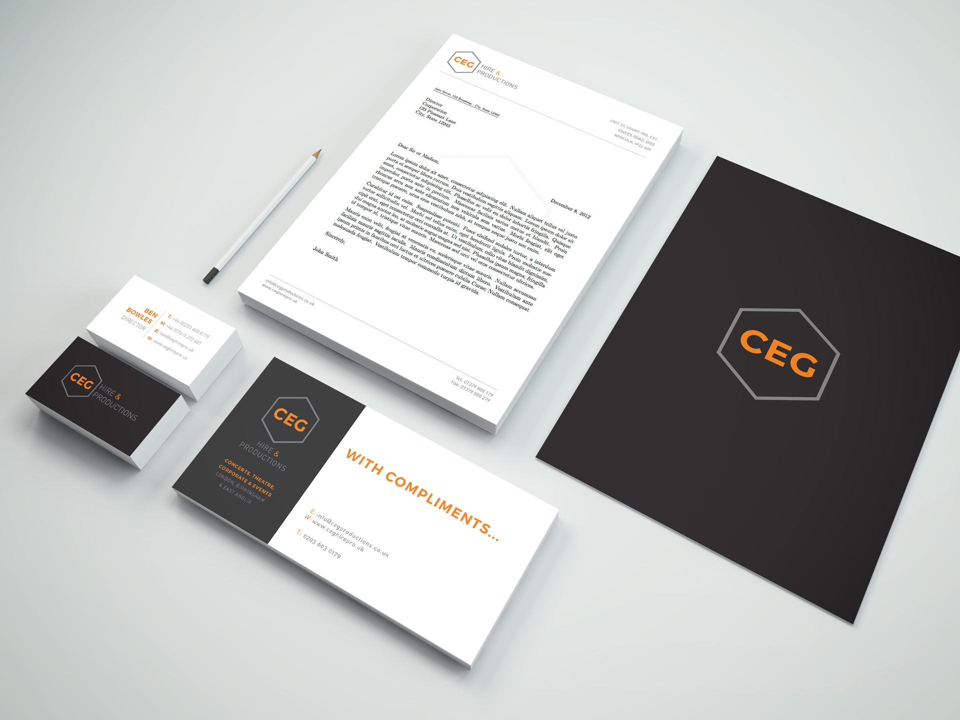 CEG Hire & Productions Stationery