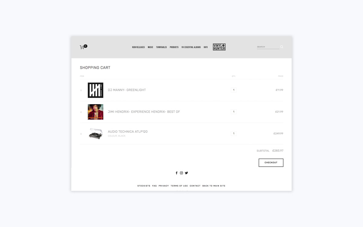 Vinyl Hunter Checkout Page