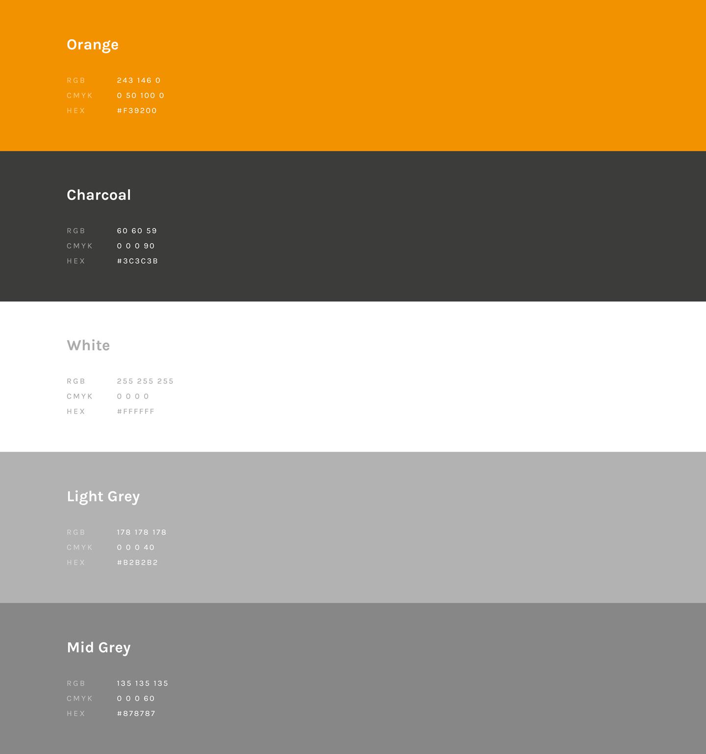 CEG Hire & Productions Colour Palette