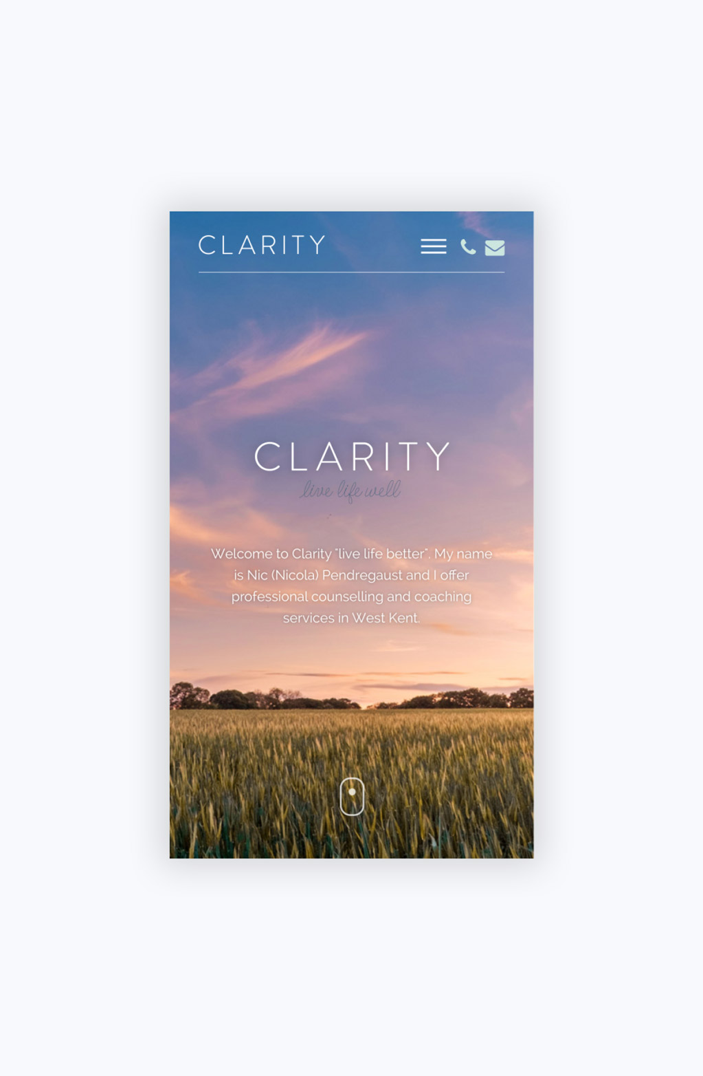 Clarity Mobile Home Page