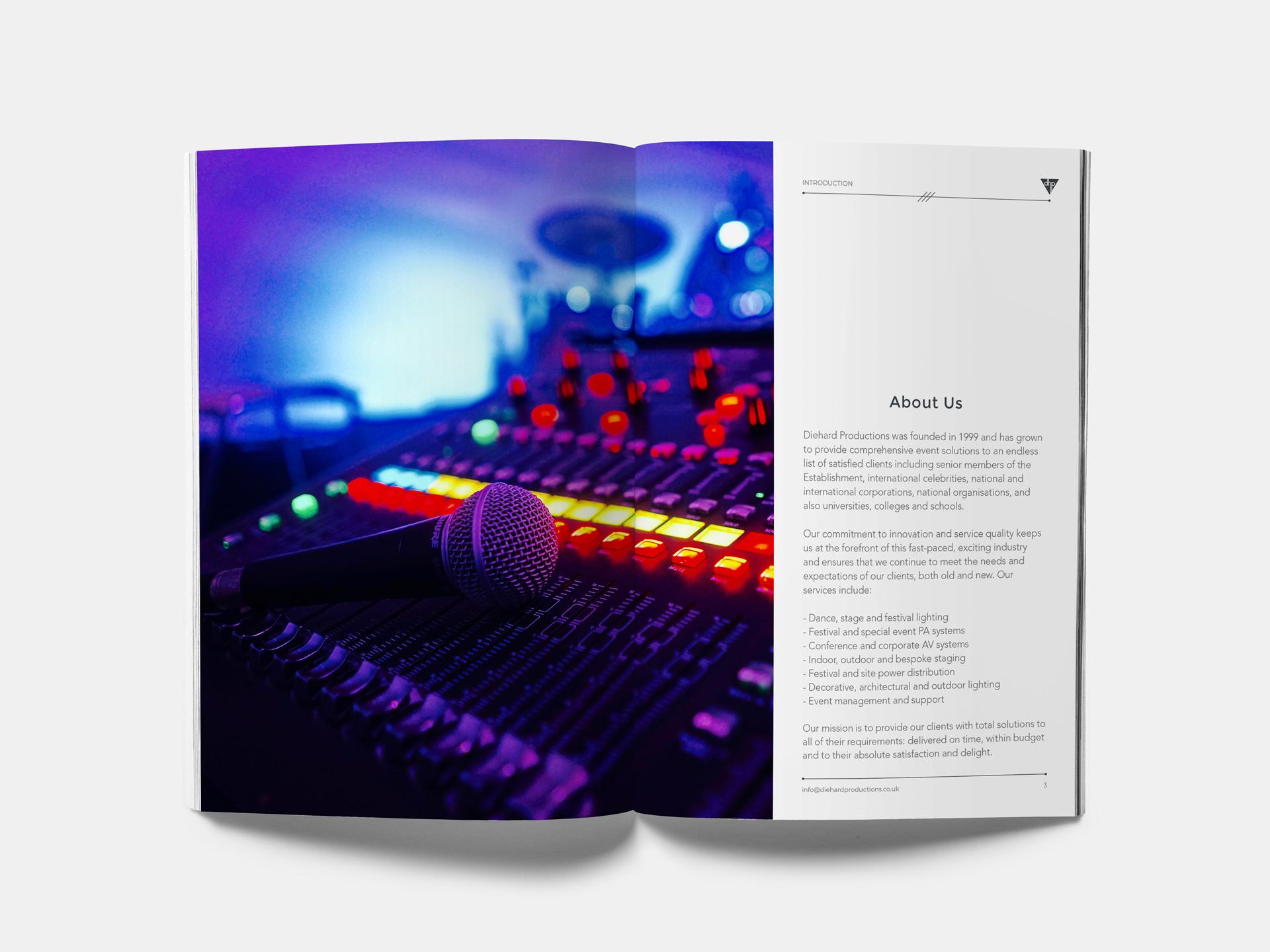 Diehard Productions brochure spread