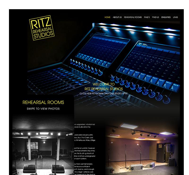 Ritz Rehearsal Studios Home Screens