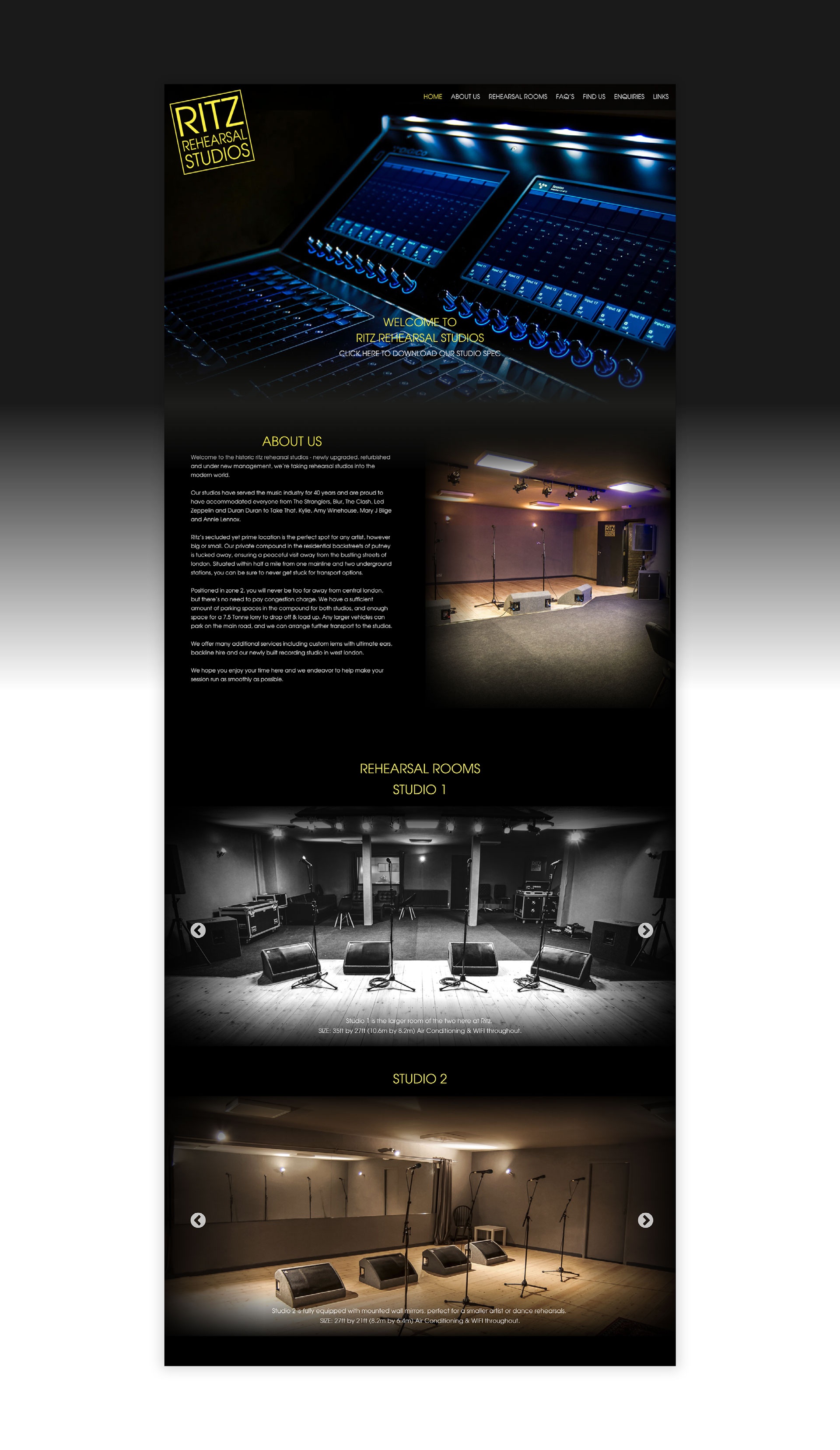 Ritz Rehearsal Studios Home Page