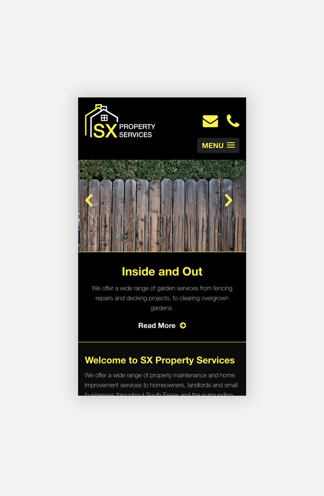 SX Property Services Home Page Mobile