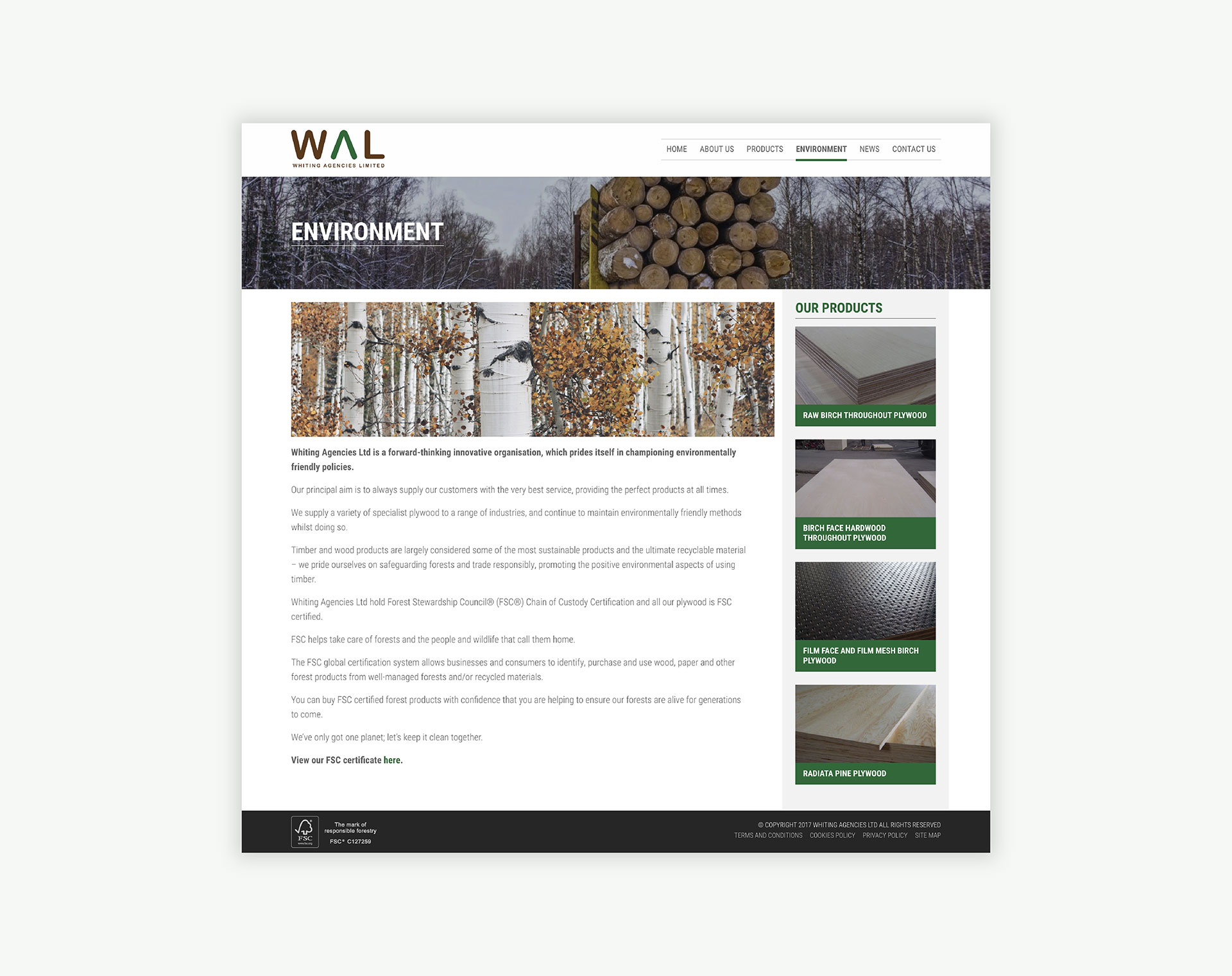 Whiting Agencies Limited Environment Page